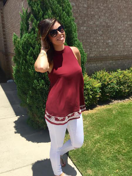 chic - white and maroon